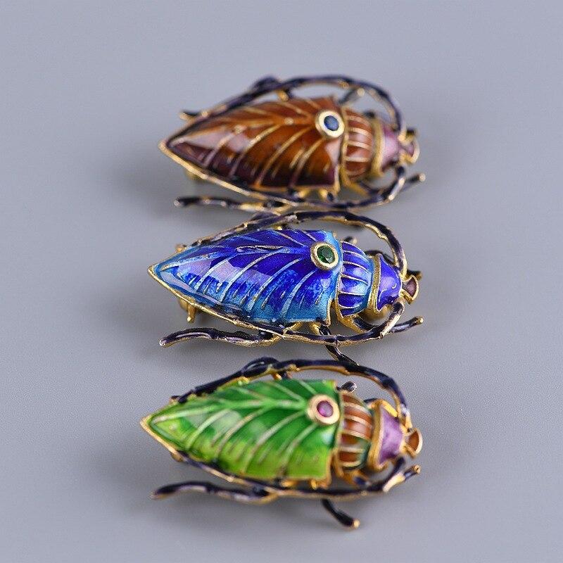 Cloisonne Enamel  925 Real Silver  Brooch For Female Old Beijing Enamel Craft Insect  Woman  Brooch