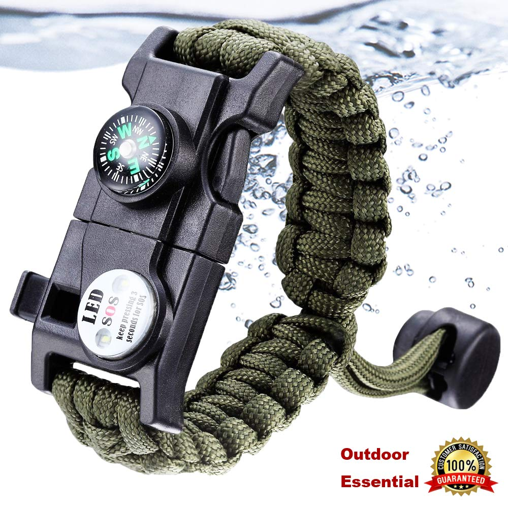 Survival Bracelet Paracord With SOS Lamp Compass Whistle Knife Outdoor for Men Women Camping Tourism SOS Emergency Kit (14)