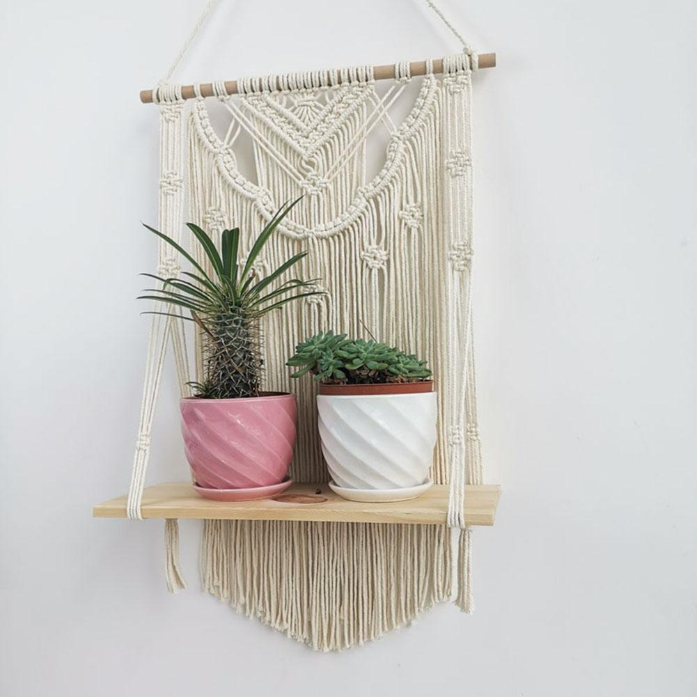 Macrame Hanging Planter Basket Wall Handmade Plant Hanger Pot Tassel Wooden Shelf Tapestry Apartment Dorm Room Decoration