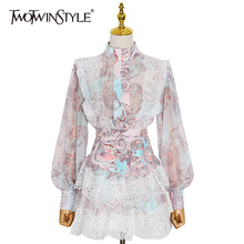 TWOTWINSTYLE Sweet Patchwork Lace Set For Women Stand Collar Long Sleeve Shirt High Waist Skirt Print Sets Female Fashion New
