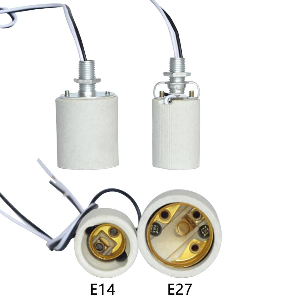 Adapter Easy Install <font><b>Socket</b></font> E27 <font><b>E14</b></font> Round For Bulb With Cable <font><b>Lamp</b></font> Base Heat Resistant Decoration Ceramic Screw Durable Holder image