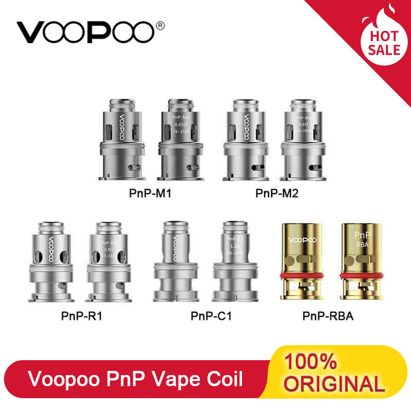 Original Voopoo PnP Replacement Vape Coil Head 0.45Ohm PnP-M1 0.6Ohm PnP-M2 0.8Ohm PnP-R1R2 PnP-RBA For Vinci Mod Drag Baby Trio