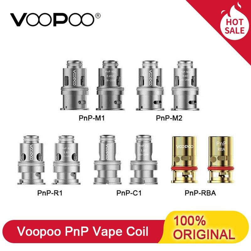 Original Voopoo PnP Replacement Vape Coil Head 0.45Ohm PnP-M1 0.6Ohm PnP-M2 0.8Ohm PnP-R1R2 PnP-RBA For Vinci Mod Drag Baby Trio