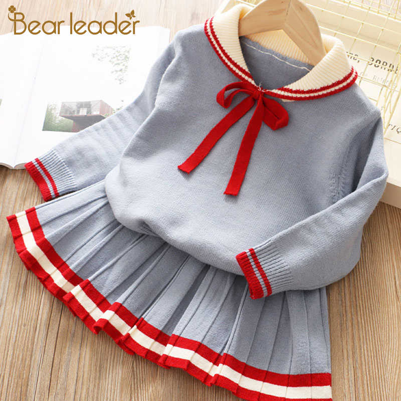 Ayı lideri kız elbise yeni kış parti elbise çocuk kız karikatür kazak + A-Line leopar elbise sevimli kıyafetler çocuk giyim