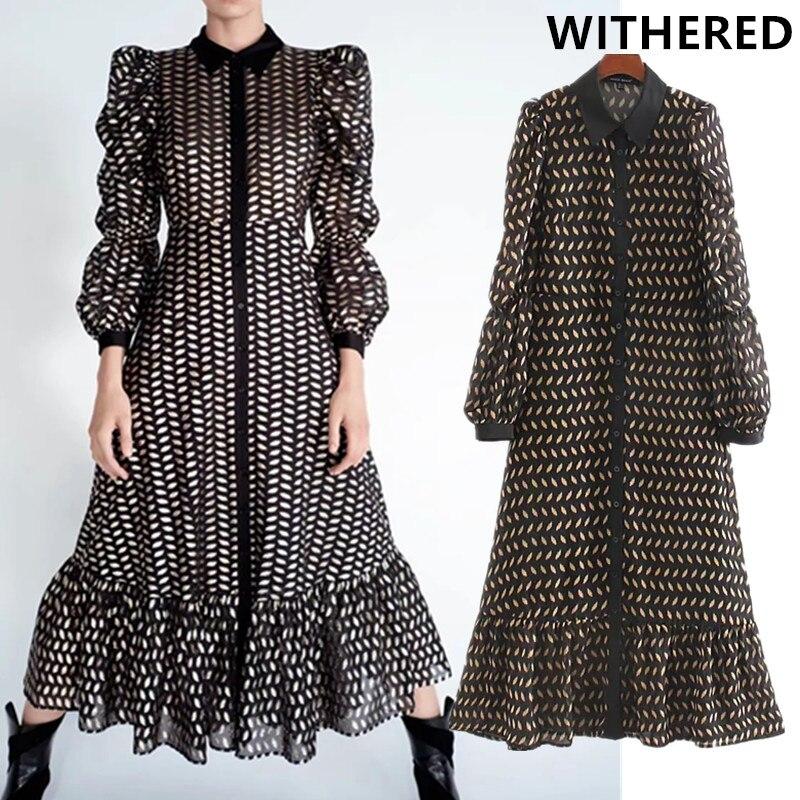 Withered England Style Vintage Puff Sleeve Printing Chiffon Party Dress Women Vestidos De Fiesta De Noche Vestidos Midi Dress