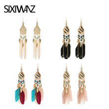 Fashion Elegant Feather Tassel Bohemian Retro Drapery Long Brincos Bijoux Jewelry Pendant Women Wedding Indian Jewelry Party(China)