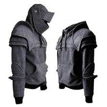 CYSINCOS Винтаж средневековый рыцарь мужские толстовки солдат толстовка с капюшоном мужская маска Броня пуловер косплей костюм топы