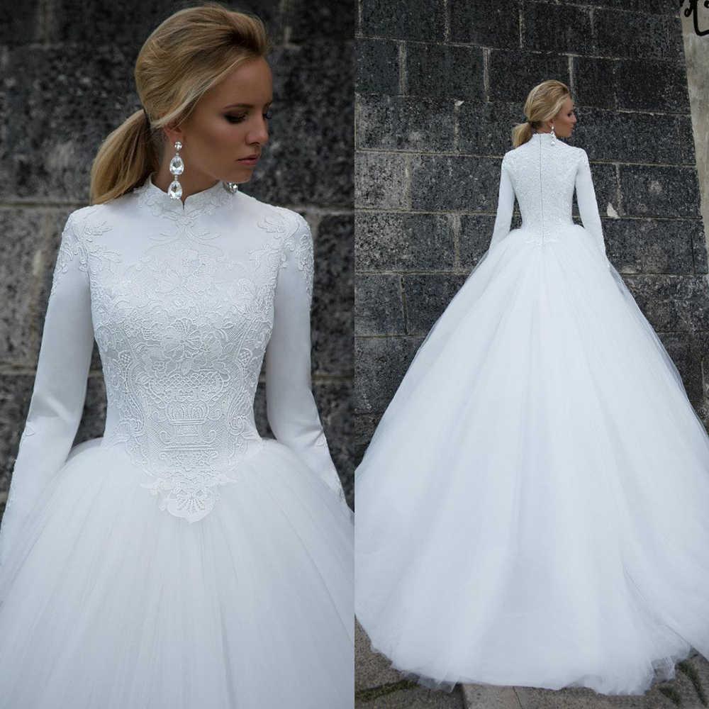 Мусульманское свадебное платье скромный дизайн с высоким воротом с длинным рукавом бальное платье кружево Тюль Свадебные платья длина до пола vestido de noiva