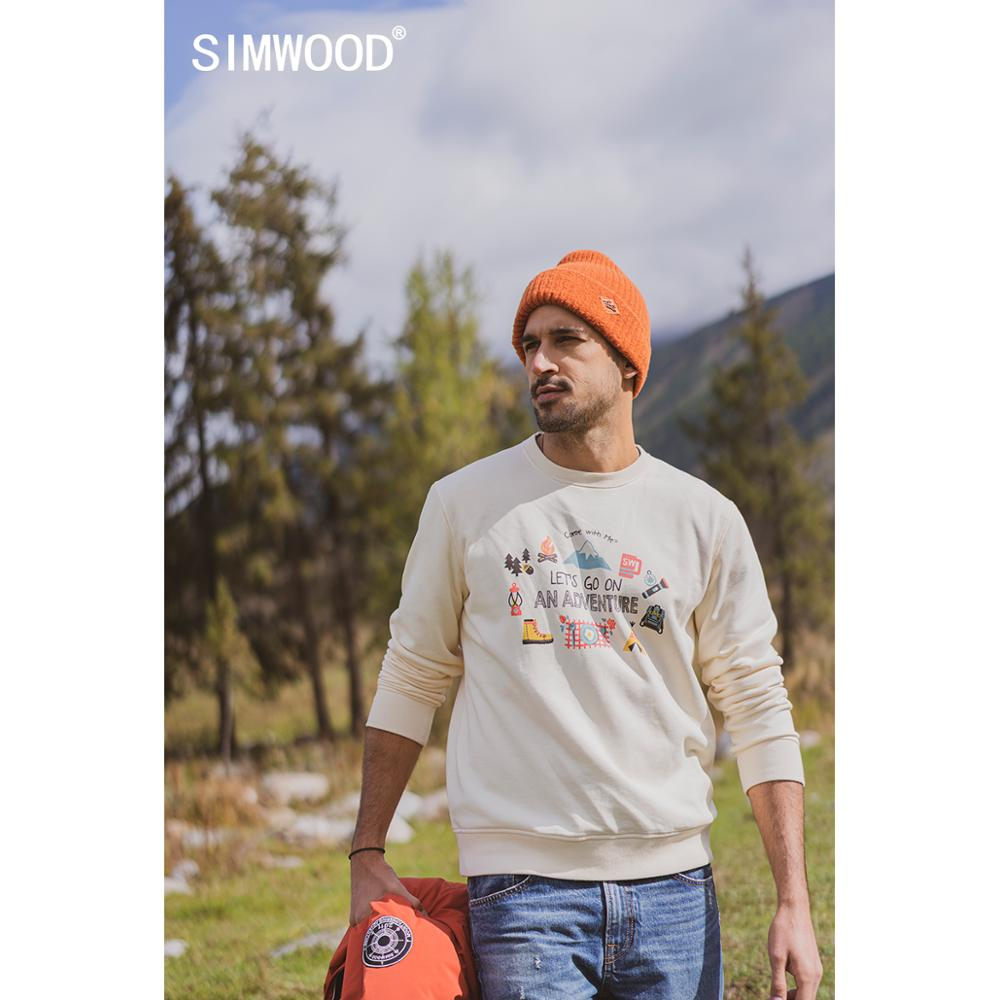 SIMWOOD 2020 autumn new hoodies men travel print funny sweatshirts jogger texture carton print tracksuit SI980781