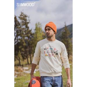 Image 1 - SIMWOOD 2020 autumn new hoodies men travel print funny sweatshirts jogger texture carton print tracksuit SI980781