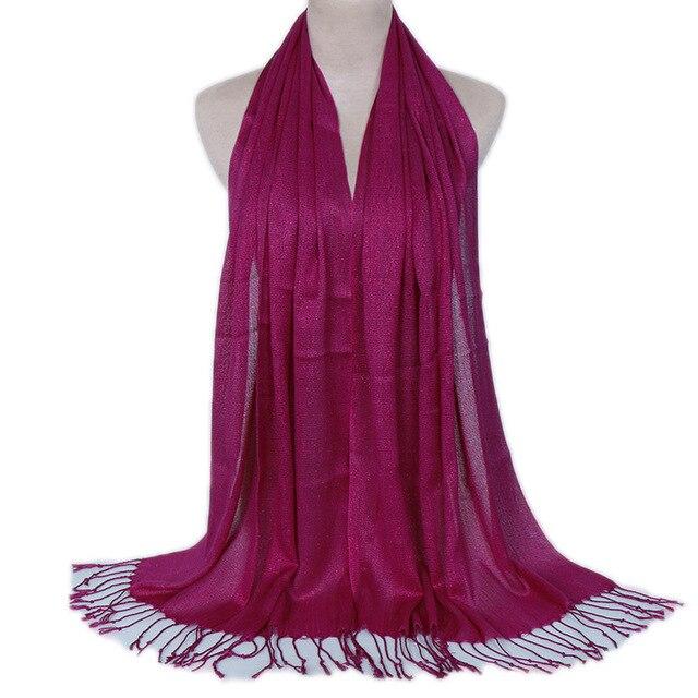 Shimmer Lurex Muslim Hijab Scarf Sliver Glitter Women Fringe Long Shawl Wraps