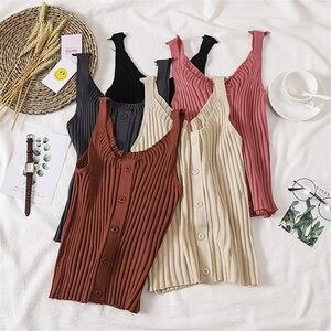 GLAUKE 2020, Camiseta de tirantes con flor de gancho de costura resistente para mujer, camiseta sin mangas corta de punto para mujer, Tops informales, blusa con botones