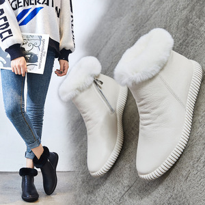 Image 4 - עור אמיתי שלג מגפי נשים גבוהה באיכות נשים של מגפי שיער ארנב חורף מגפי נשים נעליים חמות אישה Botas mujer
