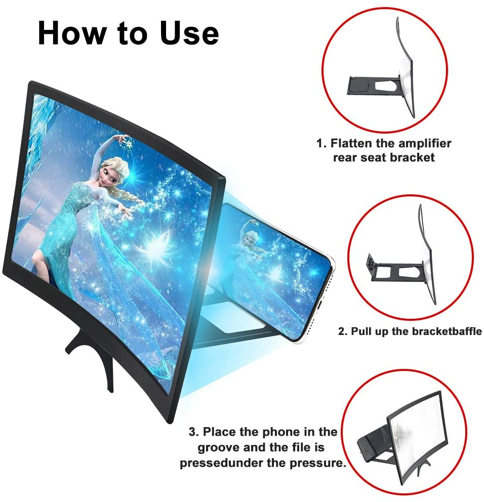 12 inch Curved Phone Screen Amplifier HD 3D Video Mobile Phone Magnifying Glass Stand Bracket Foldable Phone Holder Projector 3