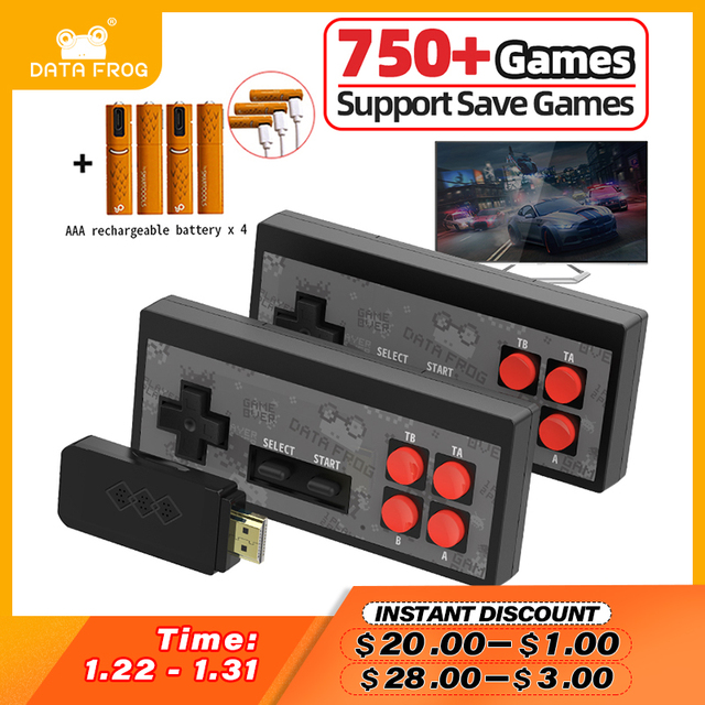 Data Frog Video Games Console Wireless USB Handheld Retro Game Built In 1700+ NES 8 Bit Game Mini Console Dendy Duble Gamepad