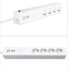 цена на EU RUS WiFi Smart 4 Outlet 2 USB Power Strip Power Supply Socket Surge Protector Plug Voice Controlled 100-240V Network Filter