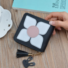 INS Style Fashion women Small Wallet Short Zipper money clip Flowers Tassels Japanese Korean Version of Zero Wallet Mini purse(China)