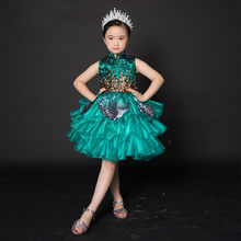 Imagem real verde vestidos da menina de flor para o casamento lantejoulas superior inchado organza meninas vestido de concurso em camadas vestidos de desfile