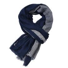 Качественные зимние шарфы для мужчин, сочетающиеся цвета, бахрома, теплая длинная шаль,, осень, хлопок, лен, тканый, большой бренд, шарф 190x80 см