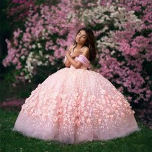 Dresses Ball-Gown Beaded Flower-Girl First-Communion Wedding Pink Off-Shoulder for Lace
