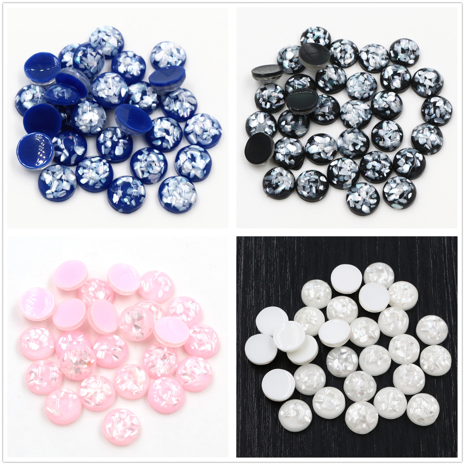 New Style 40pcs 8/10/12mm 4 Colors Built-in Real Shells Style Flat Back Resin Cabochons Fit 8/10/12mm Cameo Base Cabochons