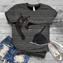 Camisetas a rayas para mujer, camiseta de manga corta con cuello redondo y estampado de gato 3D, ropa informal para mujer, 35 #