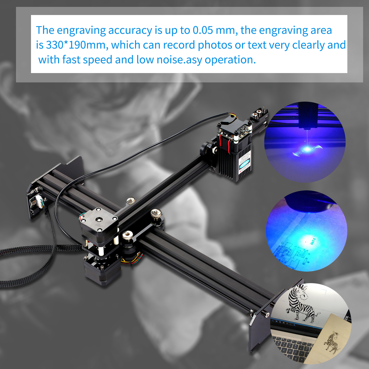 Mini Portable Laser Engraving CNC Machine Made Of Aluminum Alloy And Acrylic Material