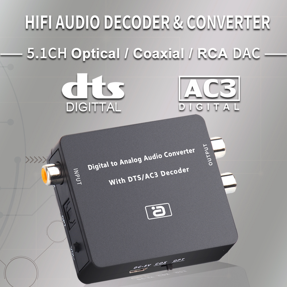 AYINO 24bit 192K DAC 5.1CH Hi-Fi Цифровой в аналоговый аудио декодер, конвертер DTS AC3 PCM оптический оптоволоконный коаксиальный в RCA 3,5 мм 2CH