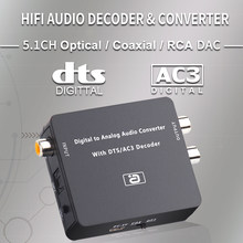 Ayino decodificador de áudio 24bit 192k, conversor dts ac3 pcm de fibra óptica coaxial para rca 3.5mm 2ch