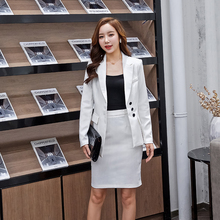 Work clothes commuting Korean version of professional suit autumn and winter new plastic consultant clothing white suit