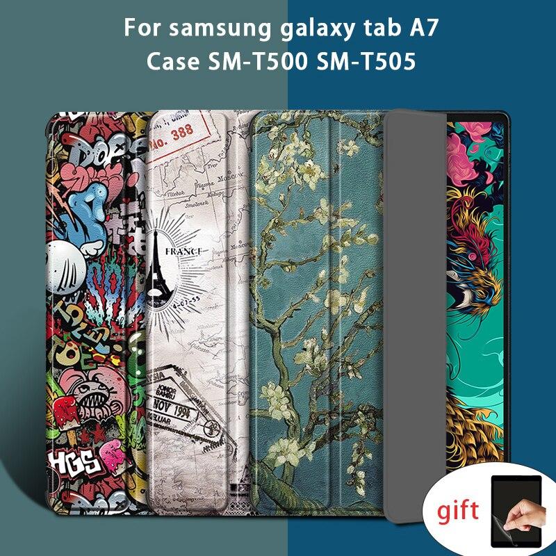 Caso inteligente capa para samsung galaxy tab a7 10.4 2020 caso SM-T500 SM-T505 couro suporte inteligente flor para galaxy tab a7 a 7 capa