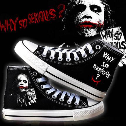 Anime Dark Knight  Joker Shoes Cosplay Halloween Clown Shoes Jokerr High-Top Shoes Men Women Casual Canvas Shoes Cosplay