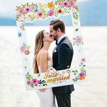 Wedding Photo Booth Frame Decor Just Married Romantic Photo Booth Props MR MRS Banner for Wedding Party Decoration 10pcs diy photo frame wooden clip paper picture holder wall decoration for wedding baby shower birthday party photo booth props