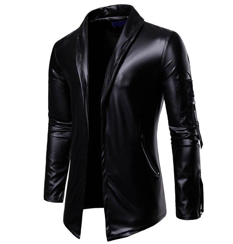 Autumn Men Elastic PU Leather Zipper Locomotive Leather Coat Slim Fit Fold-down Collar L Handsome Leather Suit