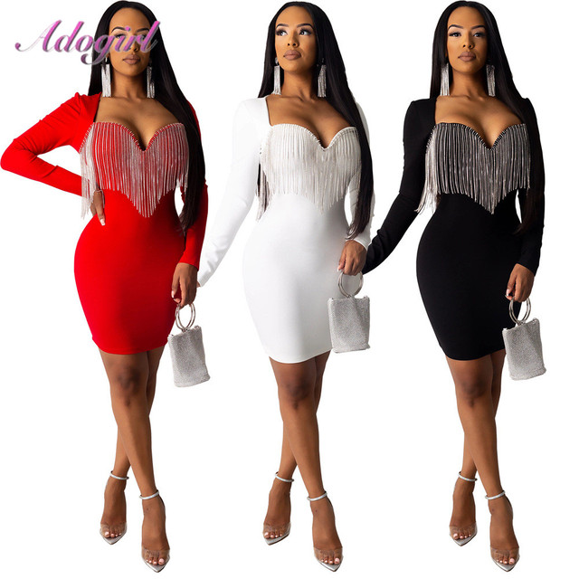 Sexy Crystal Diamonds Tassel Bodycon Evening Party Club Mini Dress Women Elegant Long Sleeve Deep V Neck Dresses Outfit Vestidos 1