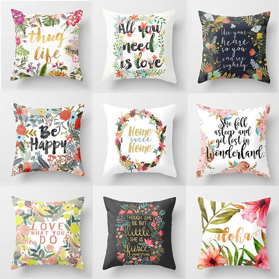 Primavera Flor Carta Impressão Capa de Almofada Throw Pillow Covers Fronha Sofá Sofá Nórdico Sala Decoração para Casa de Carro