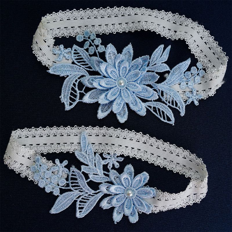 Womens Bridal Stretch Lace Thigh Rings Set Sky Blue Embroidered Flower Applique Patchwork Faux Pearl Wedding Prom Garter Belt