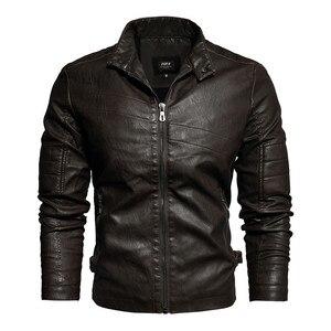 Image 2 - Мужская кожаная куртка в стиле милитари, модная винтажная куртка бомбер с воротником стойкой, весна 2019