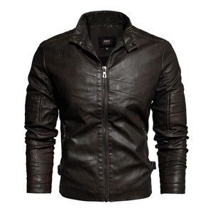 Image 2 - Spring Mens Leather Jacket New Arrival Fashion Vintage Leather Coat Men Stand Collar Military Bomber Jacket Male chaqueta hombre