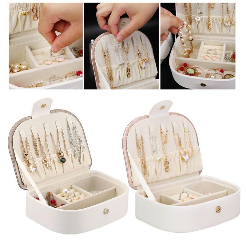 Portable European Jewelry Box Necklace Earring Ring Large Capacity Storage Case Travel Girls Jewellery Holder Organizer Box