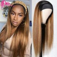 Beauté pour toujours sans colle bandeau perruques brésilienne droite perruque Ombre racines sombres miel blond Remy perruque de cheveux humains débutant amical