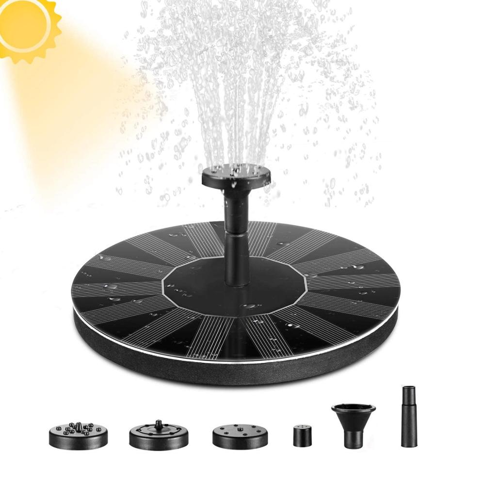 1.5W Solar Bird Bath Fountain Pump with 6 Nozzle Free Standing Floating Solar Powered Water Fountain Pump for Garden Pond Pool