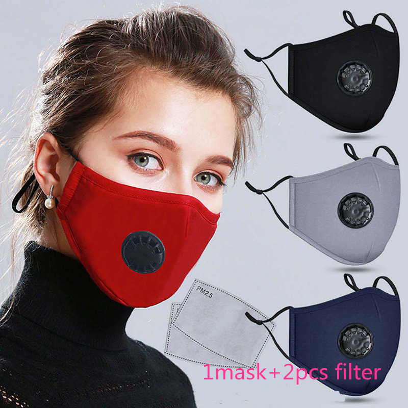 Anti-Dust Mouth Mask With 2pcs Filters PM2.5 Anti Pollution Breathable Cotton Face Mask Washable Respirator Mouth-muffle