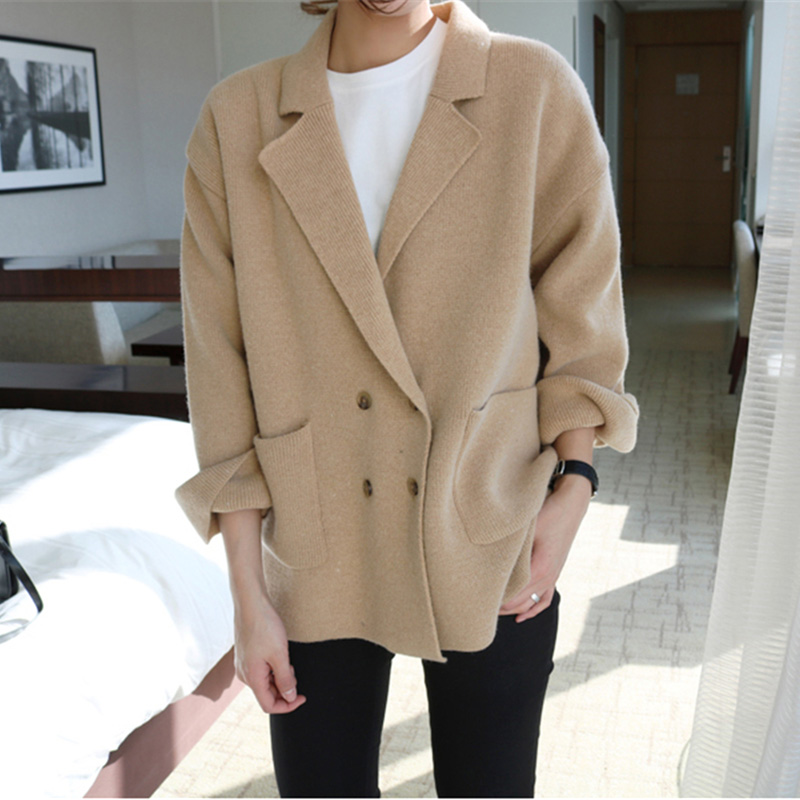 Cashmere Cardigan Sweater Women Winter Jumper Solid Korean Blazer Sweater Button Oversized Cardigan Harajuku Double Breasted New