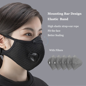 ROCKBROS Sport Face Mask Activated Carbon Filter Dust Mask PM 2.5 Anti-Pollution Running Training MTB Road Bike Cycling Mask