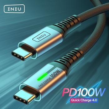 INIU 5A kabel USB C do typu C PD 100W 60W type-c szybka ładowarka przewód danych dla Xiaomi mi 11 Huawei P40 Samsung Macbook Pro tanie i dobre opinie Rohs CN (pochodzenie) Ze wskaźnikiem LED DI-D5CC 100W PD Cable 100W Type C to USB C Cable 0 5m (1 6ft) 1m (3 3ft) 2m (6 6ft)