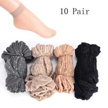 10 Paare los Haut Farbe Dot Transparent Dünne Frauen Kristall Silk Socken Nylon Mode Damen Sommer Kurze Knöchel Silk Socken cheap HELTFARM CN (Herkunft) COTTON Beiläufig Fest summer sock 17cm