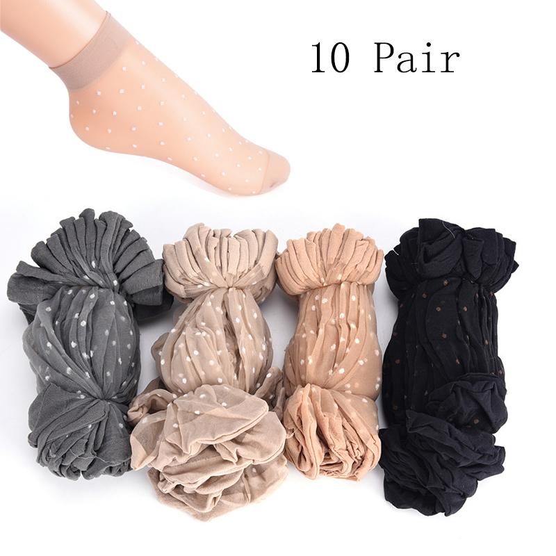 10 Pair/lot Skin Color Dot Transparent Thin Women Crystal Silk Socks Nylon Fashion Ladies Summer Short Ankle Silk Socks