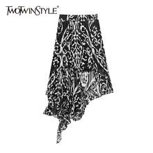 TWOTWINSTYLE Elegant Print Asymmetrical Skirts For Female High Waist Mesh Hit Co