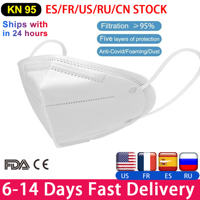 10 pcs n95 KN95 Mask 5 Layer Flu Anti dust Anti-fog N95 Protective Masks ffp2 Respirator Mask PM2.5 Safety Same As KF94 FFP3